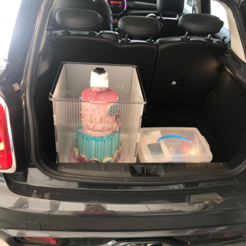 How to transport a cake.